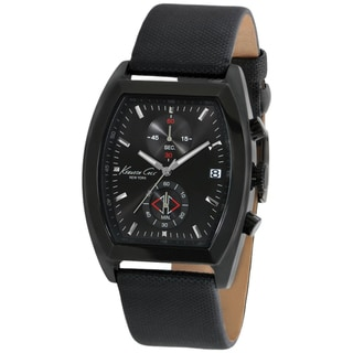 Kenneth Cole Men's KC1897 Black Leather Quartz Watch with Black Dial