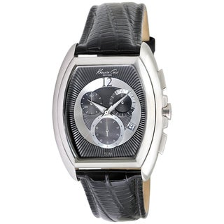 Kenneth Cole Men's KC1880 Black Calf Skin Quartz Watch with Black Dial
