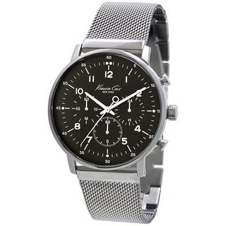 Kenneth Cole Men's KC9206 Silver Stainless-Steel Quartz Watch with Black Dial