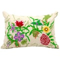Mina Victory Life Styles Ivory Flower Garden 14 x 20-inch Decorative Pillow by Nourison