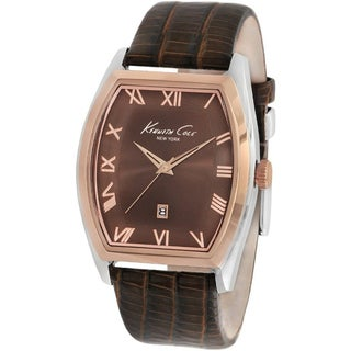 Kenneth Cole Men's KC1891 Brown Calf Skin Quartz Watch with Brown Dial