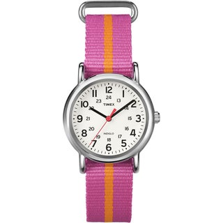Timex Women's T2P072 Weekender Pink/Orange Stripe Slip Thru Nylon Strap Watch