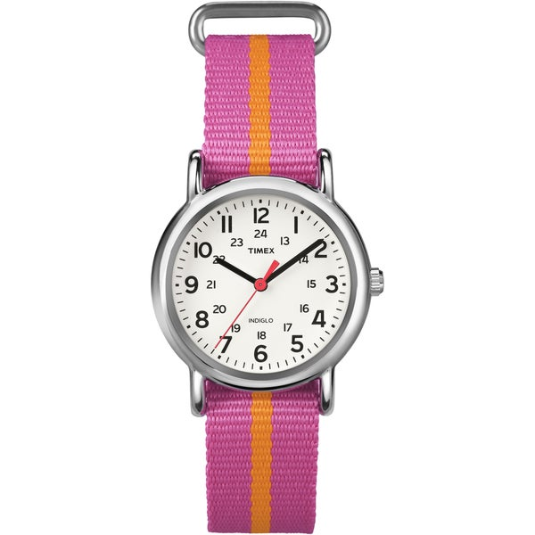 Timex T2P0729J Women's Weekender Pink/ Orange Stripe Slip Thru Nylon Strap Watch