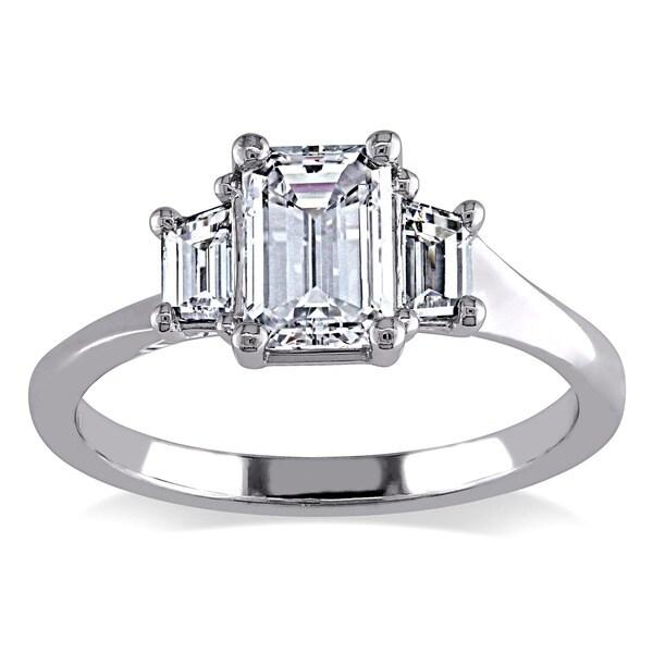 Miadora Signature Collection 14k White Gold 1ct TDW Certified Emerald-cut Diamond Ring (E, SI1, GIA)