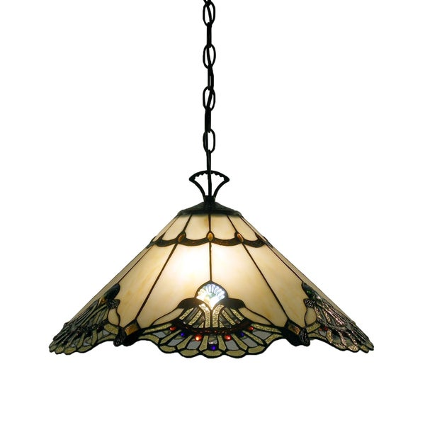 hanging lamp light vintage swag ceiling chandelier shade metal stained. Black Bedroom Furniture Sets. Home Design Ideas