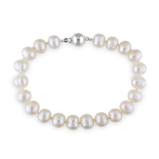 Miadora Sterling Silver Freshwater Cultured Pearl Bracelet (8-8.5 mm)