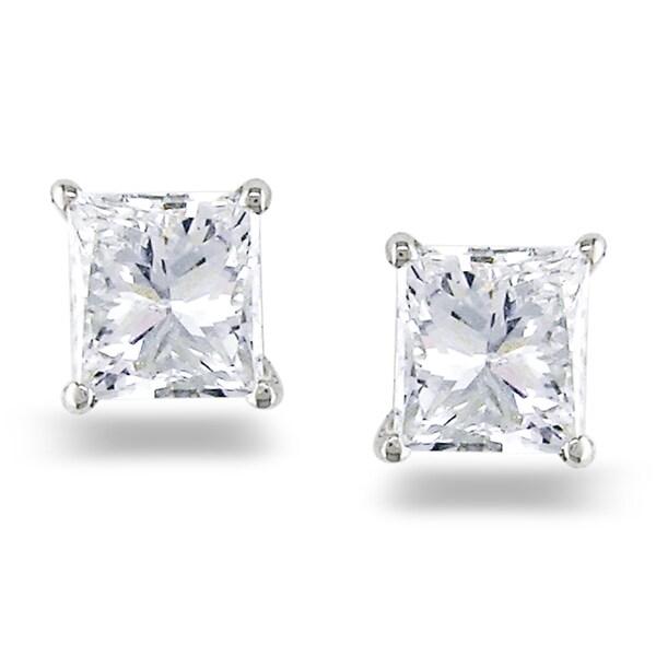 Miadora 14k White Gold 3/4ct TDW Princess Diamond Stud Earrings (G-H, SI1-SI2)