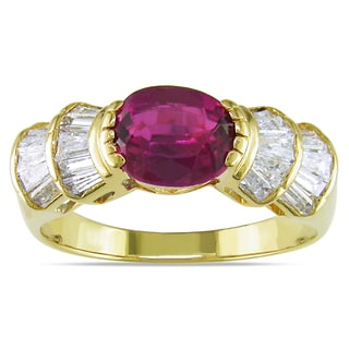 Miadora Signature Collection 18k Yellow Gold Tourmaline and 1/2ct TDW Diamond Ring (G-H, I1-I2)