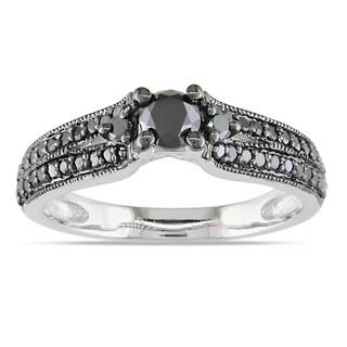 Miadora Sterling Silver 3/4ct TDW Black Diamond Ring