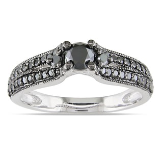 Miadora Sterling Silver 3/4ct TDW Black Diamond Engagement Ring