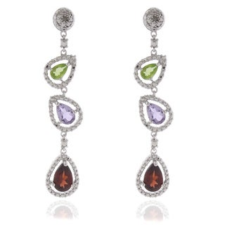Dolce Giavonna Silver Overlay Peridot, Amethyst, Garnet and Diamond Earrings