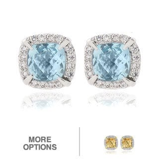 Dolce Giavonna 18k Gold or Silver Overlay Gemstone and CZ Square Stud Earrings
