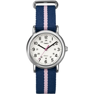 Timex Women's T2P074 Weekender Blue/Pink Stripe Slip Thru Nylon Strap Watch