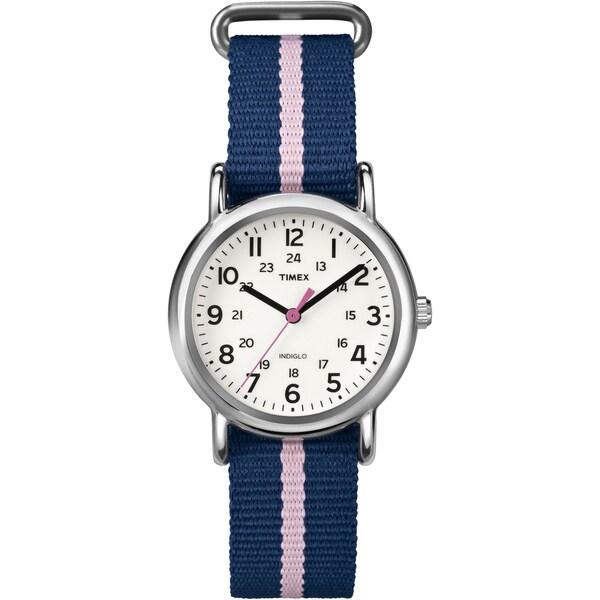 Timex T2P0749J Women's Weekender Blue/ Pink Stripe Slip Thru Nylon Strap Watch