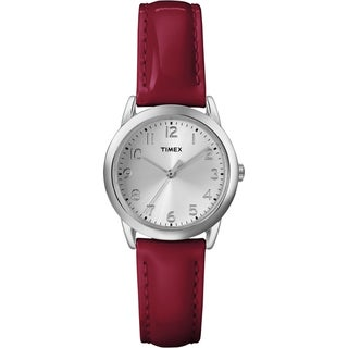 Timex Women's T2P085 Red Patent Leather Strap Watch