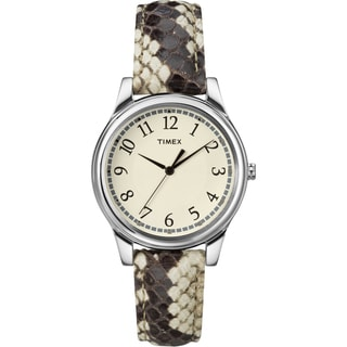 Timex Women's T2P088 Black/White Python Patterned Leather Strap Watch
