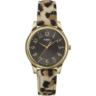 Timex Women's T2P090 Leopard Patterned Leather Strap Watch