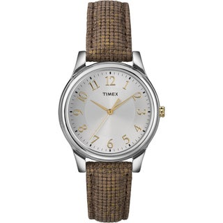 Timex Women's T2P094 Metallic Brown Leather Strap Watch