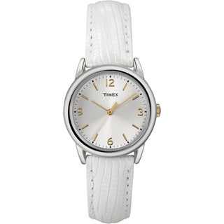 Timex Women's T2P120 White Metallic Lizard Patterned Leather Strap Watch