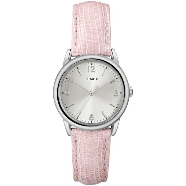Timex Women's T2P122 Pink Metallic Lizard Patterned Leather Strap Watch