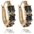 Dolce Giavonna 18k Gold Overlay Sapphire and Diamond Accent Hoop Earrings