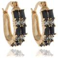 Gem Jolie 18k Gold Overlay Sapphire and Diamond Accent Hoop Earrings