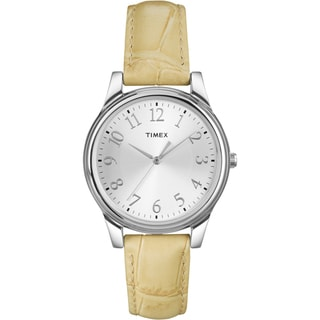 Timex Women's T2P128 Beige Leather Strap Watch