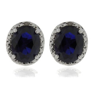 Dolce Giavonna Silver Overlay Lab-created Sapphire and Diamond Accent Earrings