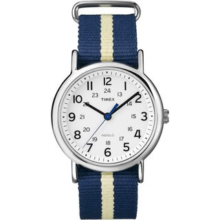 Timex Unisex T2P142 Weekender Navy/ Yellow Stripe Slip-thru Nylon Strap Watch