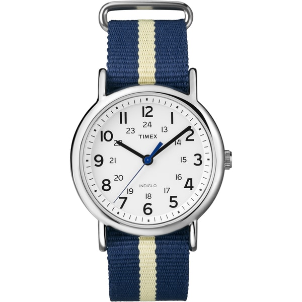Timex Unisex T2P142 Weekender Navy/Yellow Stripe Slip Thru Nylon Strap Watch