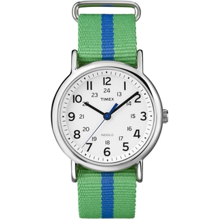 Timex Unisex T2P143 Weekender Green/Blue Stripe Slip Thru Nylon Strap Watch