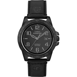 Timex Unisex Expedition Rugged Metal Field Blackout Leather Watch