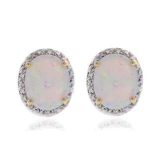 Dolce Giavonna Silver Overlay Synthetic Opal and Diamond Accent Earrings