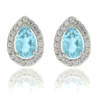 Dolce Giavonna Silverplated Blue Topaz and CZ Teardrop Stud Earrings