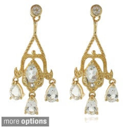 Dolce Giavonna 18k Gold or Silver Overlay White Topaz Chandelier Earrings