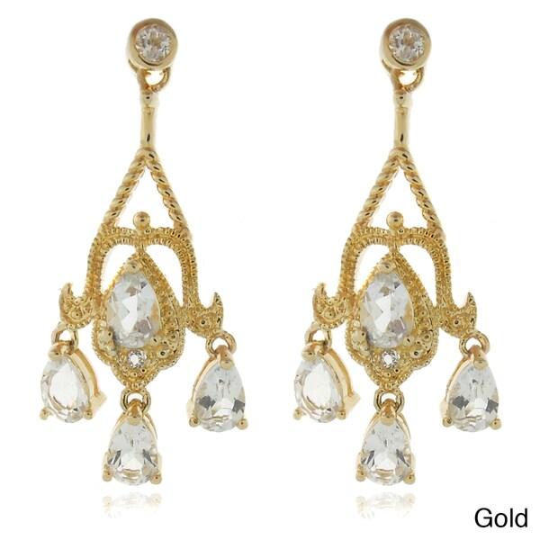 Dolce Giavonna 18k Gold or Silver Overlay White Topaz Chandelier Earrings