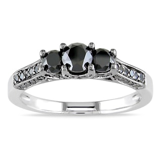 Miadora Sterling Silver 1ct TDW Black Diamond Engagement Ring