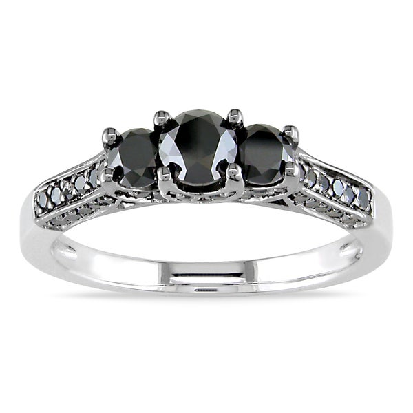 Miadora Sterling Silver 1ct TDW Black Diamond 3-Stone+ Ring