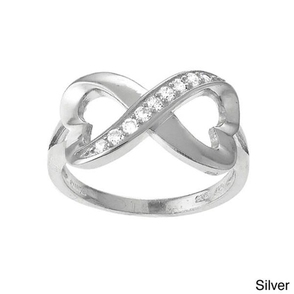 La Preciosa Sterling Silver White Cubic Zirconia Heart Design Infinity Ring