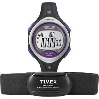 Timex Women's T5K723 Ironman Road Trainer Heart Rate Monitor Black/ Silvertone/ Purple Watch