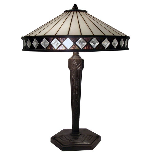 Tiffany-style Warehouse of Tiffany Diamond Table Lamp