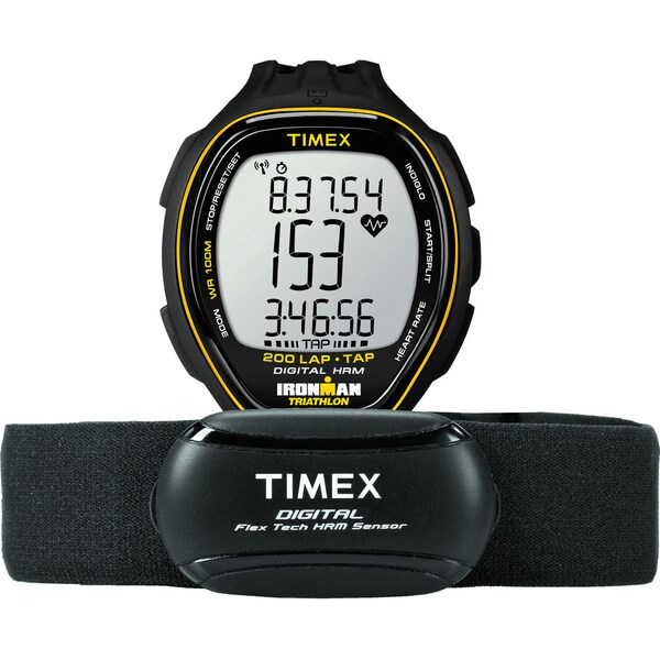 Timex Men's T5K726 Ironman Target Trainer Heart Rate Monitor Black/Yellow Watch
