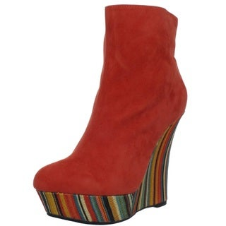 Fahrenheit Women's 'Anette-10' Wrapped Platform Wedge Booties