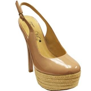 Fahrenheit Women's 'Nandi-02' Espadrille Platform Slingback Heels
