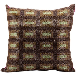 Mina Victory Luminescence Beaded Squares Multicolored 20 x 20-inch Pillow by Nourison