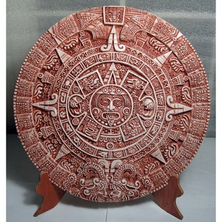 3D Aztec Calendar with Wooden Stand (Mexico)