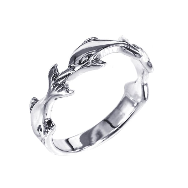 Sterling Silver Triple Dolphin Ring (Thailand)