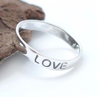Sterling Silver 'Faith Love Hope' Band (Thailand)