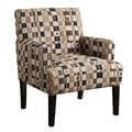 June Marlow Toast Checkered Accent Chair