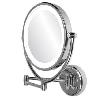 Ovente 1x/10x Dimmable Lighted Round Wall Mirror
